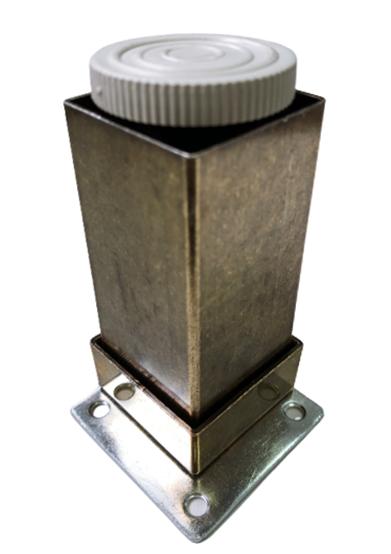 Picior metalic pentru mobilier H:100 mm, finisaj auriu antichizat, profil patrat 40x40 mm cu masca 2