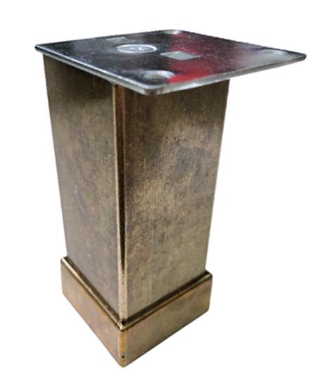 Picior metalic pentru mobilier H:100 mm, finisaj auriu antichizat, profil patrat 40x40 mm cu masca 0