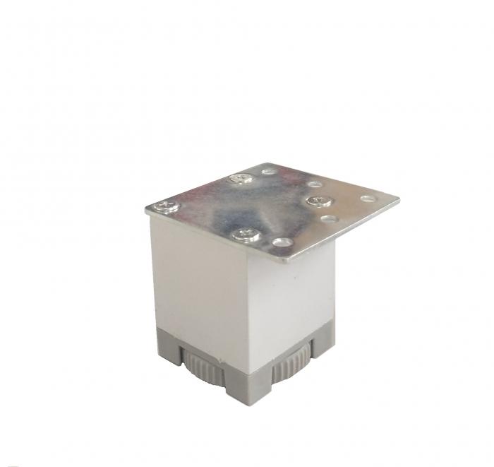 Picior metalic pentru mobilier H:50 mm cu profil patrat 40x40 mm aluminiu 0