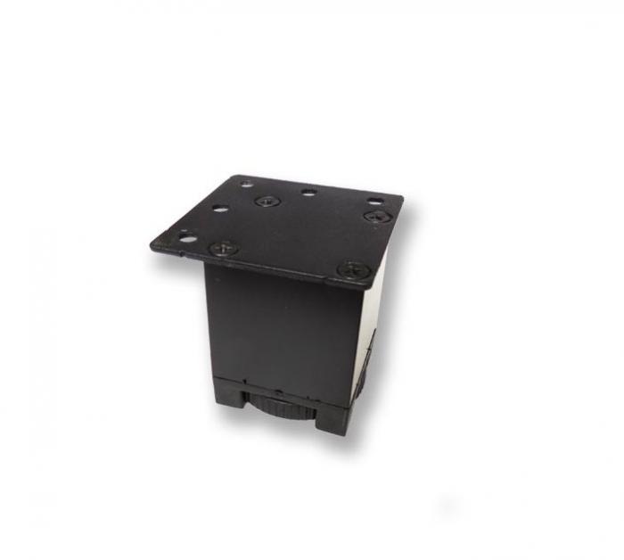 Picior metalic fara masca pentru mobilier H:50 mm cu profil patrat 40x40 mm negru 0