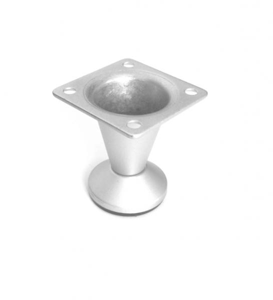 Picior metalic pentru mobilier H:50 mm finisaj aluminiu 0