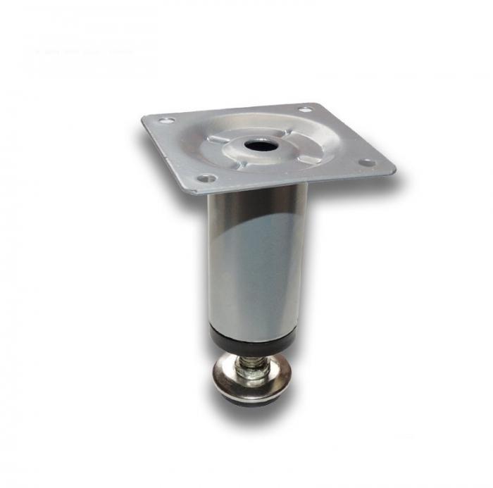 Picior metalic cilindric pentru mobilier H:80 mm, Ø30 mm, finisaj aluminiu [0]