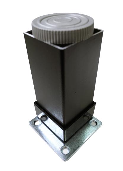 Picior metalic pentru mobilier H:80 mm, finisaj negru, profil patrat 40x40 mm cu masca 2