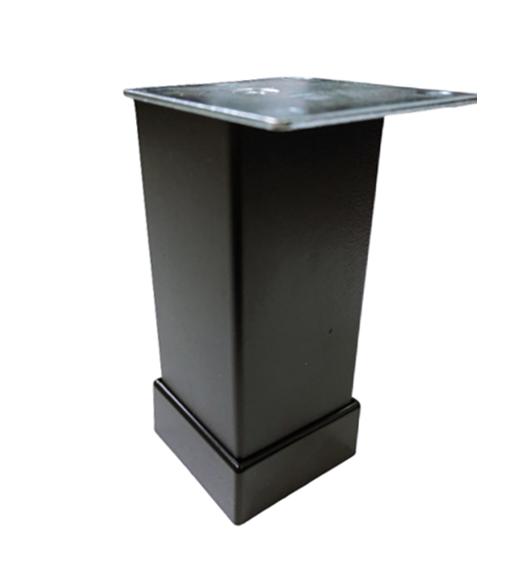 Picior metalic pentru mobilier H:80 mm, finisaj negru, profil patrat 40x40 mm cu masca 0