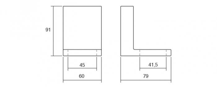 Picior pentru mobila Jazz, finisaj crom mat, H:91 mm [2]