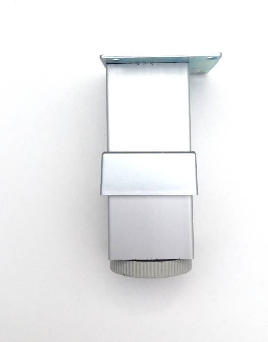 Picior metalic pentru mobilier H:100 mm, finisaj aluminiu, profil patrat 40x40 mm cu masca [1]