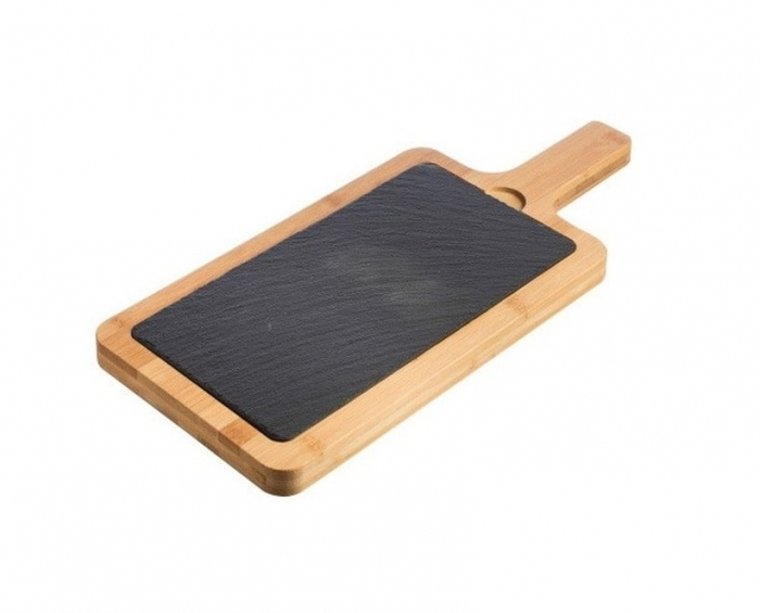 Platou din bambus cu ardezie pentru servit 31 x 19 x 1,5 cm [0]