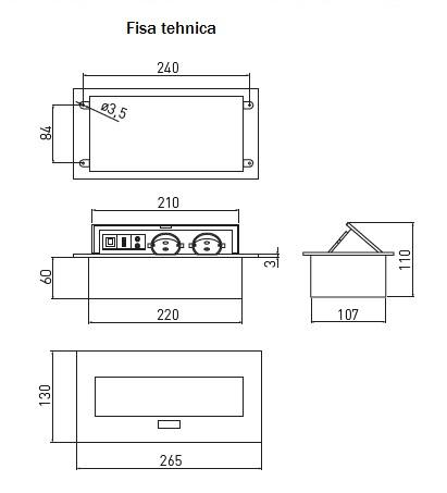 Priza incorporabila 2+1 ( 2 prize Schuko + 1 USB + 1 LAN + 2 RCA) [1]