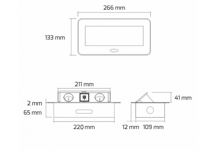 Priza incorporabila in blat dreptunghiulara Kombibox, finisaj aluminiu, 2 prize Schuko + 2 USB si incarcator incorporat, 266x133 cm 4