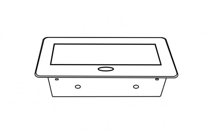Priza incorporabila in blat dreptunghiulara Kombibox, finisaj aluminiu, 2 prize Schuko + 2 USB si incarcator incorporat, 266x133 cm 3