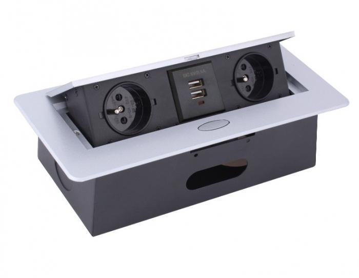 Priza incorporabila in blat dreptunghiulara Kombibox, finisaj aluminiu, 2 prize Schuko + 2 USB si incarcator incorporat, 266x133 cm 1