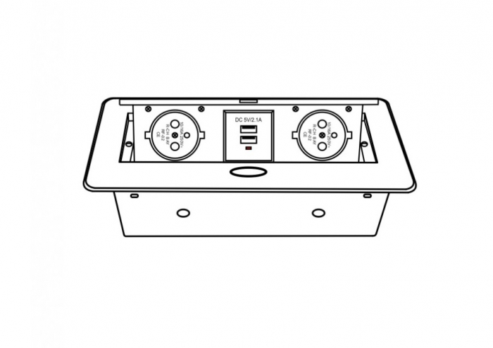Priza incorporabila in blat dreptunghiulara Kombibox, finisaj aluminiu, 2 prize Schuko + 2 USB si incarcator incorporat, 266x133 cm 2