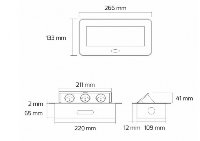 Priza incorporabila in blat dreptunghiulara Kombibox, finisaj negru, 2 prize Schuko + 2 USB si incarcator incorporat, 266x133 cm 4