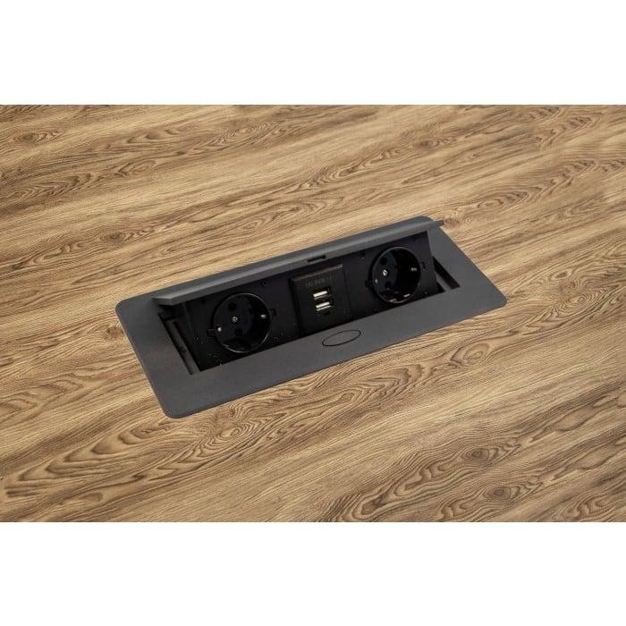 Priza incorporabila in blat dreptunghiulara Kombibox, finisaj negru, 2 prize Schuko + 2 USB si incarcator incorporat, 266x133 cm 2