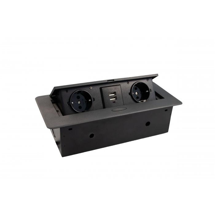 Priza incorporabila in blat dreptunghiulara Kombibox, finisaj negru, 2 prize Schuko + 2 USB si incarcator incorporat, 266x133 cm 0