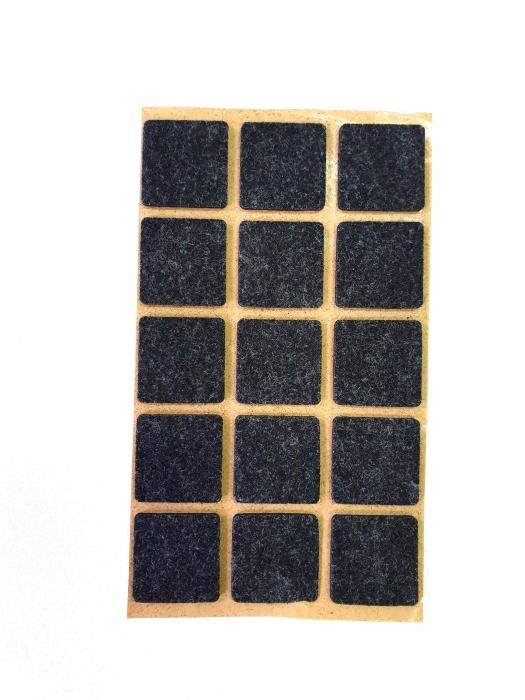 Protectie pasla autoadeziva pentru pardoseala, dreptunghiulara 28 x 28 mm, neagra, set 15 buc 0