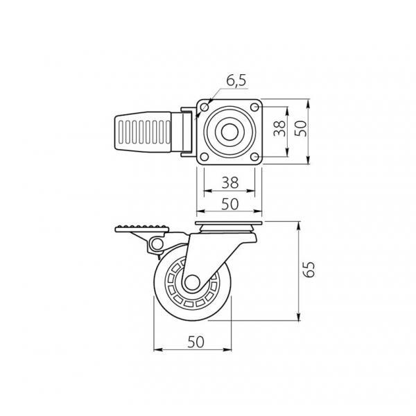 Rotila din silicon cu frana D=50 mm [1]