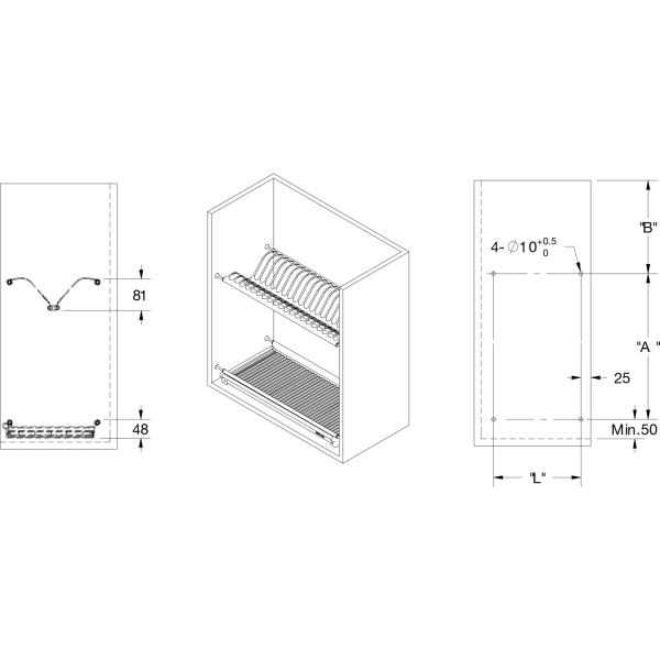 Scurgator din otel inoxidabil pentru vase montabil in dulap de bucatarie cu dimensiune de 450 mm 3