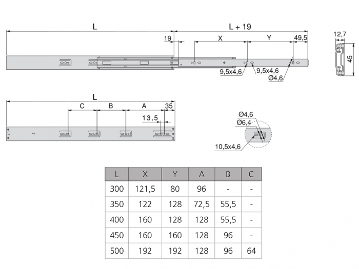 Set 2 glisiere pe bile cu amortizare si extragere totala 400 mm 3