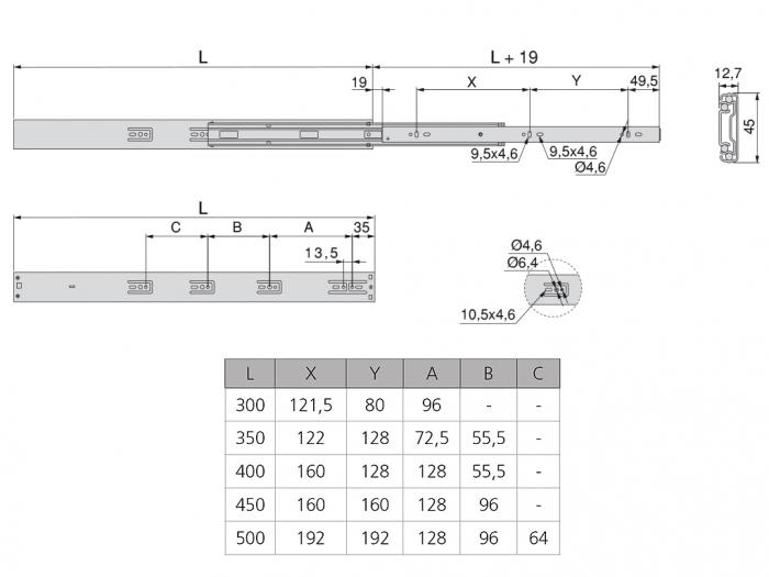 Set 2 glisiere pe bile cu amortizare si extragere totala 450 mm [3]