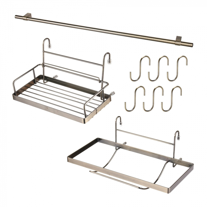 Set suporturi pentru bucatarie cu bara inclusa, finisaj alama 0