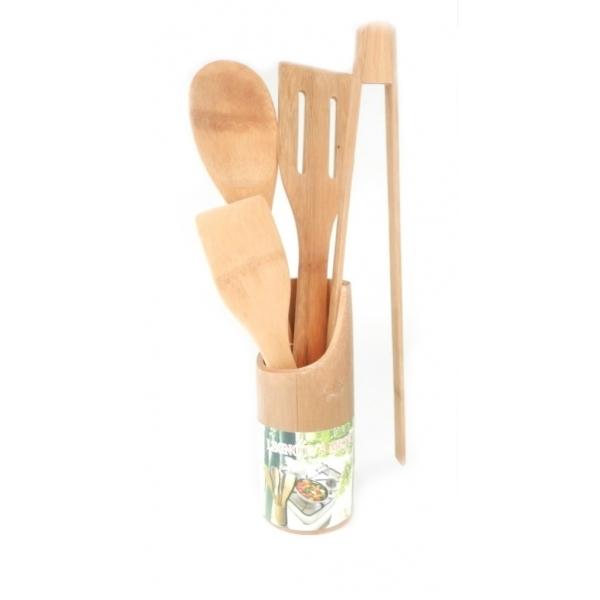 Set ustensile de bucatarie cu suport din bambus 0