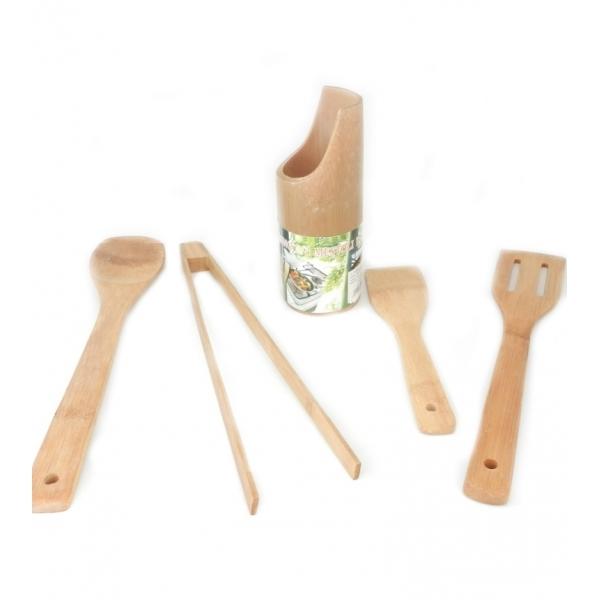 Set ustensile de bucatarie cu suport din bambus 2
