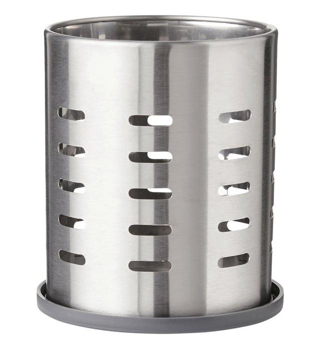 Suport din metal pentru tacamuri si ustensile de bucatarie, cu tavita de scurgere, finisaj inox [0]