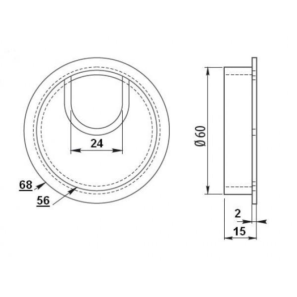 Suport doza trecere cablu metalica, cromata, cu perii ø60 2