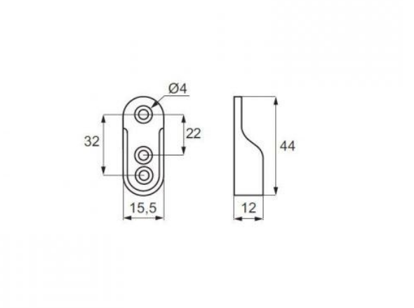 Suport lateral pentru bara umerase ovala, finisaj aluminiu 1