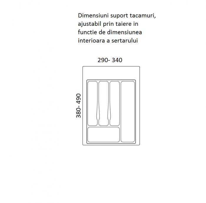 Suport organizare tacamuri, alb, pentru corp de 400 mm, montabil in sertar bucatarie 1