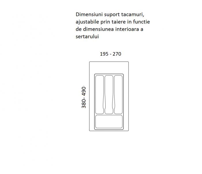 Suport organizare tacamuri, alb, pentru latime corp 350 mm, montabil in sertar bucatarie [1]
