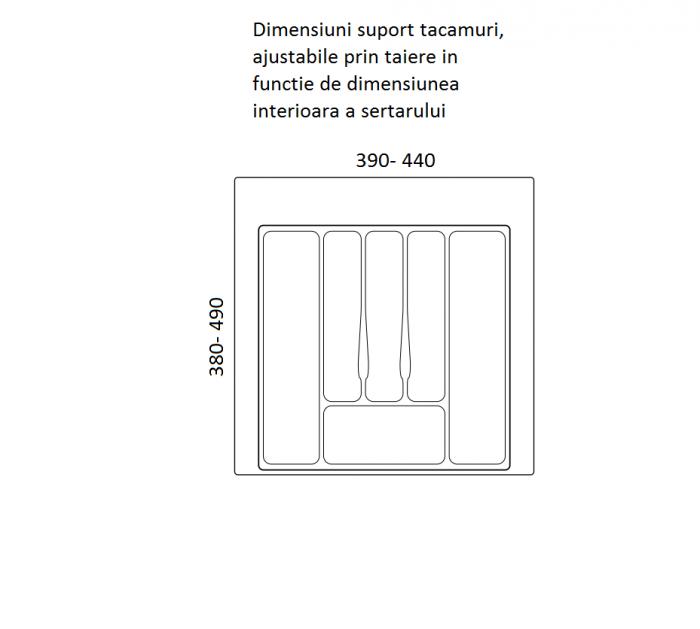 Suport organizare tacamuri, alb, pentru latime corp 500 mm, montabil in sertar bucatarie 1