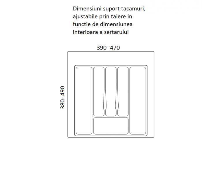 Suport organizare tacamuri, alb, pentru latime corp 550 mm, montabil in sertar bucatarie 1