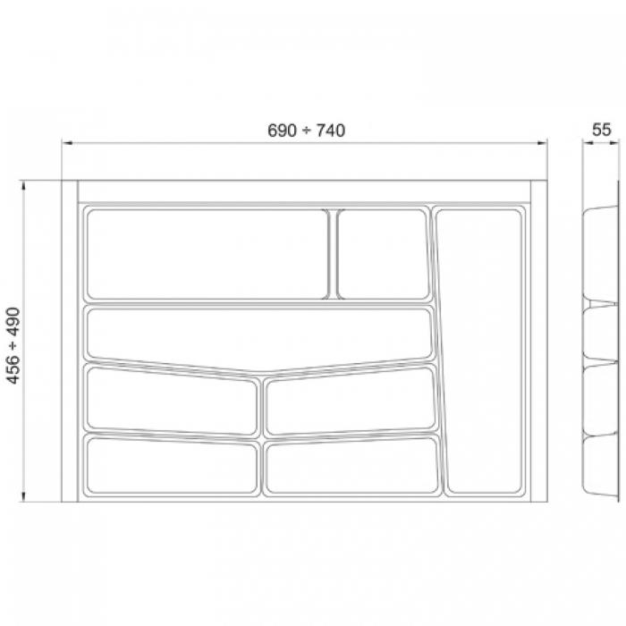 Suport organizare tacamuri, alb, pentru latime corp 800 mm, montabil in sertar bucatarie 1