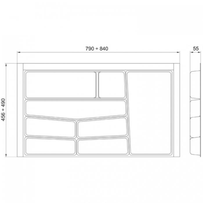 Suport organizare tacamuri, alb, pentru latime corp 900 mm, montabil in sertar bucatarie 1