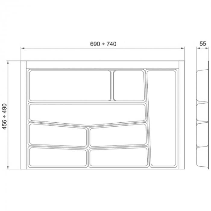 Suport organizare tacamuri, gri deschis, pentru latime corp 800 mm, montabil in sertar de bucatarie 1