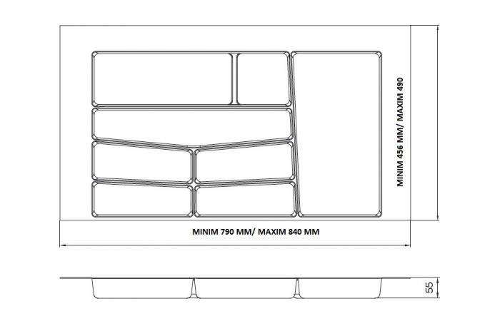 Suport organizare tacamuri, gri deschis, pentru latime corp 900 mm, montabil in sertar de bucatarie 1