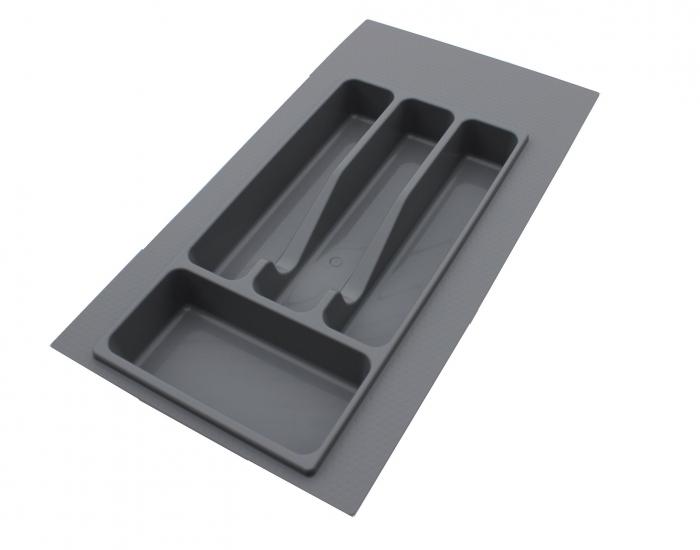 Suport organizare tacamuri, gri metalizat, pentru latime corp 350 mm, montabil in sertar bucatarie 0