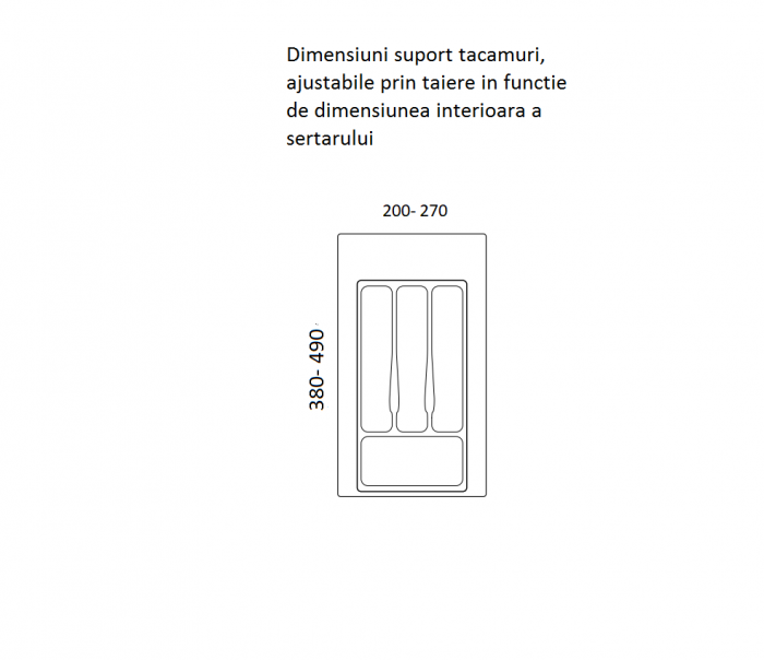 Suport organizare tacamuri, gri metalizat, pentru latime corp 350 mm, montabil in sertar bucatarie 1