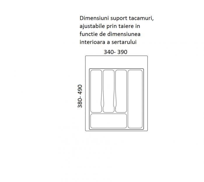 Suport organizare tacamuri, gri metalizat , pentru latime corp 450 mm, montabil in sertar bucatarie [1]