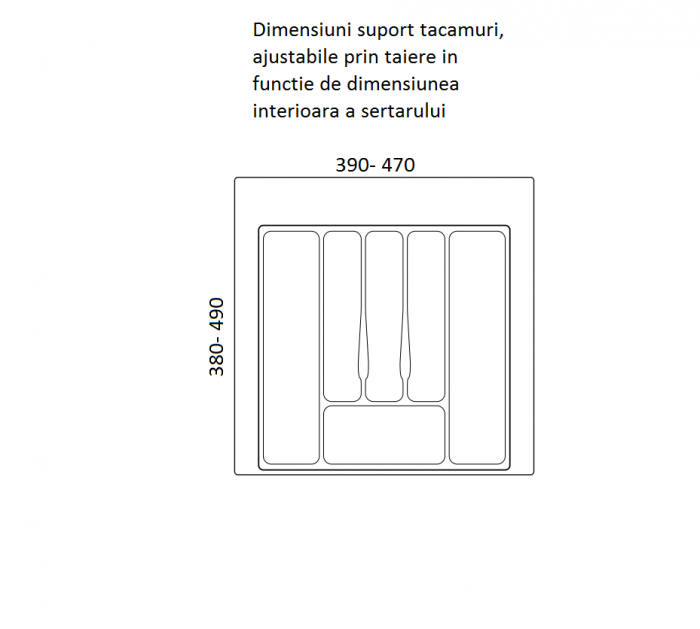 Suport organizare tacamuri, gri metalizat, pentru latime corp 550 mm, montabil in sertar bucatarie 1