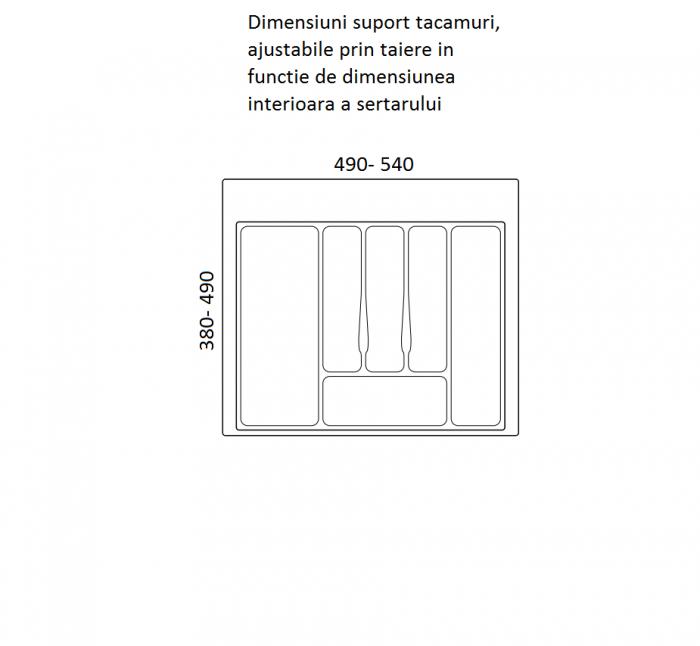 Suport organizare tacamuri, gri metalizat, pentru latime corp 600 mm , montabil in sertar bucatarie 1