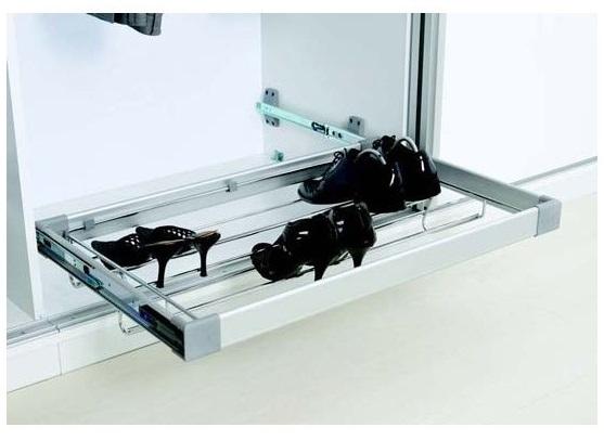 Suport pantofi extensibil tip sertar cu amortizare S6261G pentru corp dressing cu latime de 600 mm, finisaj Crom/Aluminiu 0