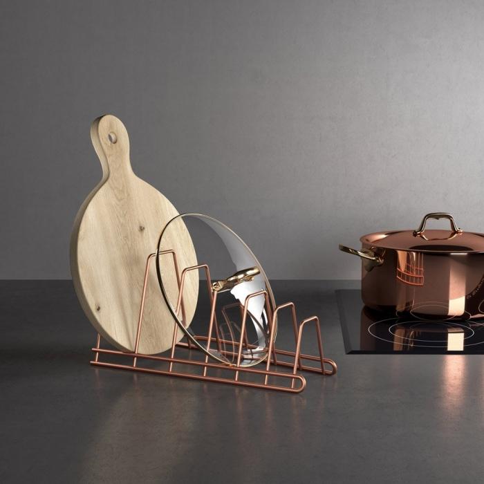 Suport pentru capace si tocatoare bucatarie Cricket Copper, finisaj cupru [2]