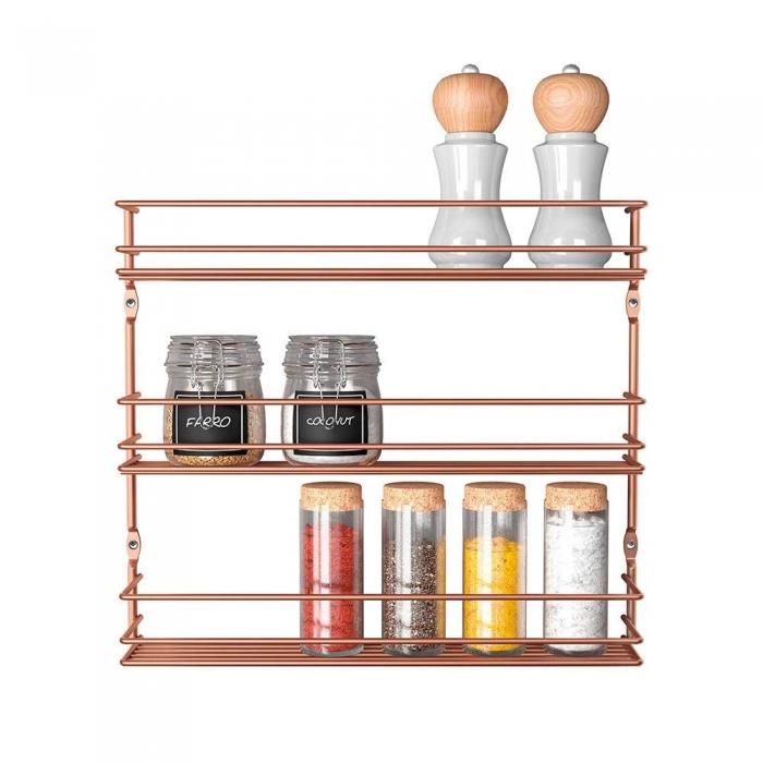 Suport pentru condimente cu 3 nivele finisaj cupru 36 x 8 x 32 cm 0