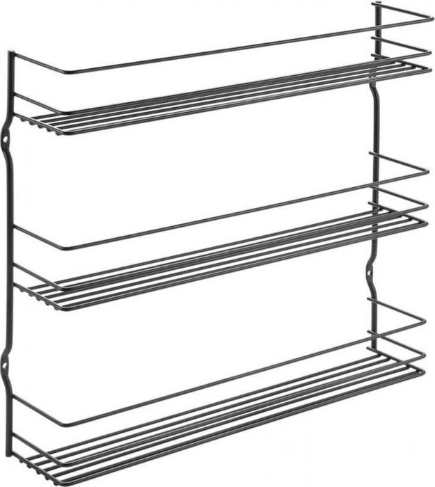 Suport pentru condimente cu 3 niveluri , negru,  36 x 8 x 32 cm 0