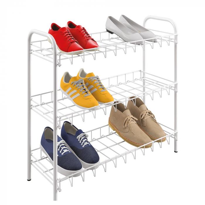 Suport, raft pentru pantofi cu 3 etaje, alb, 64x23x59 cm 0