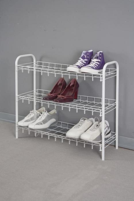 Suport, raft pentru pantofi cu 3 etaje, alb, 64x23x59 cm 2