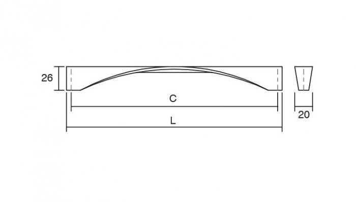 Maner pentru mobilier Twisted, finisaj crom lustruit, L:170 mm 2